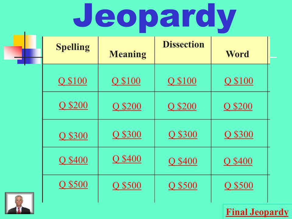 Jeopardy Dissection Spelling Meaning Word Q $100 Q $100 Q $100 Q $100