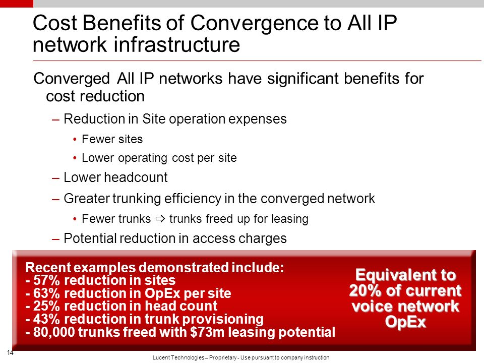Cost Benefits of Convergence to All IP network infrastructure