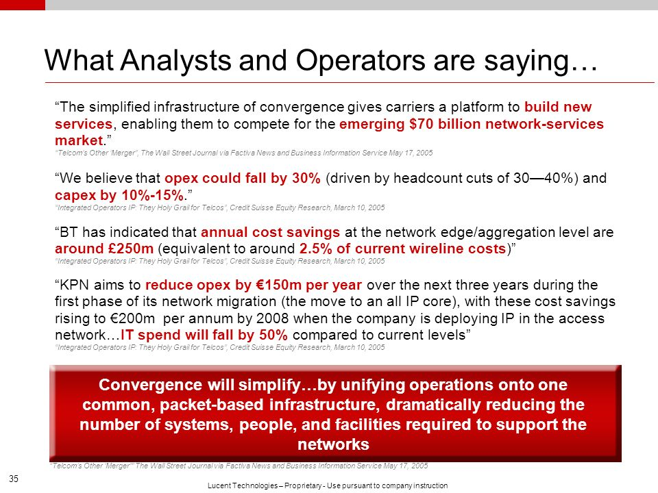 What Analysts and Operators are saying…