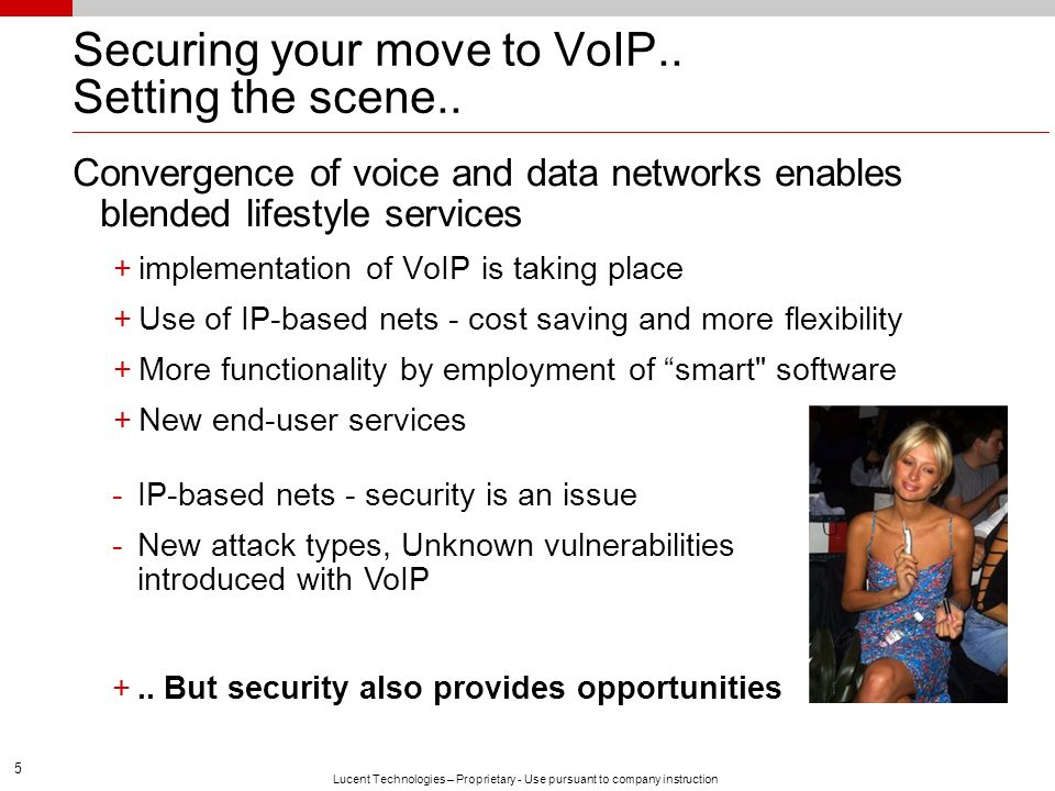 Securing your move to VoIP.. Setting the scene..