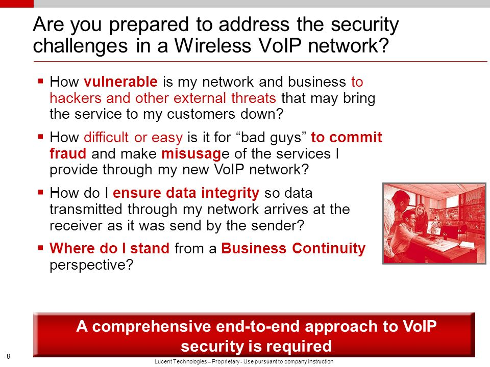 A comprehensive end-to-end approach to VoIP security is required