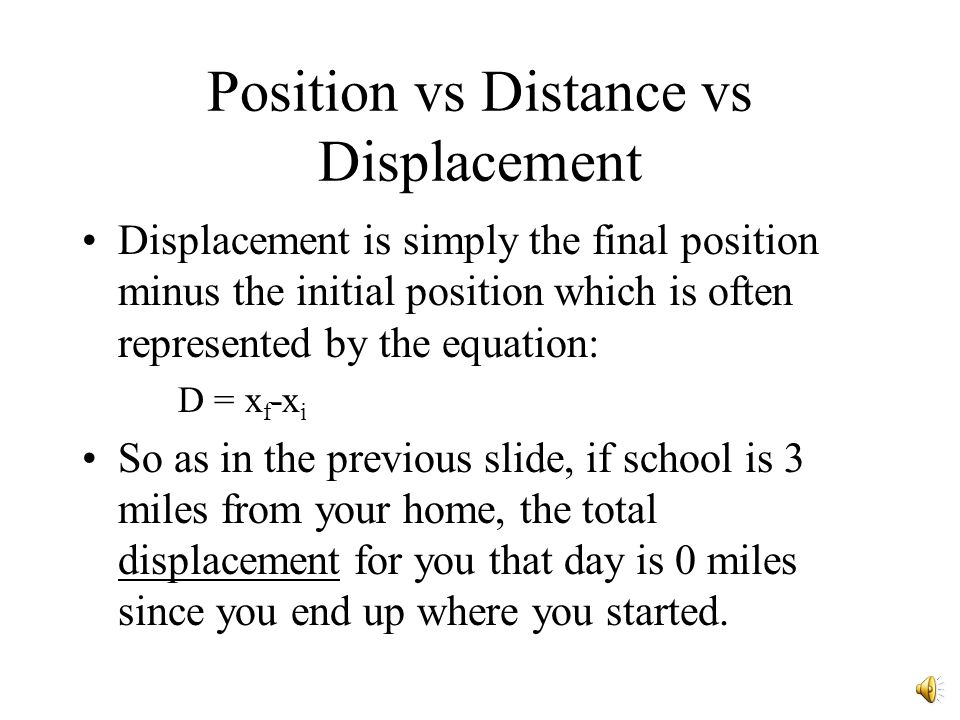Position vs Distance vs Displacement