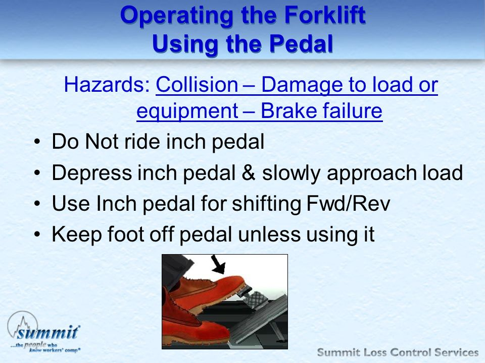 Operating the Forklift Using the Pedal