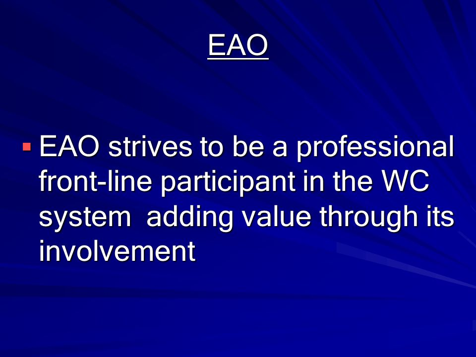 EAO EAO strives to be a professional front-line participant in the WC system adding value through its involvement.