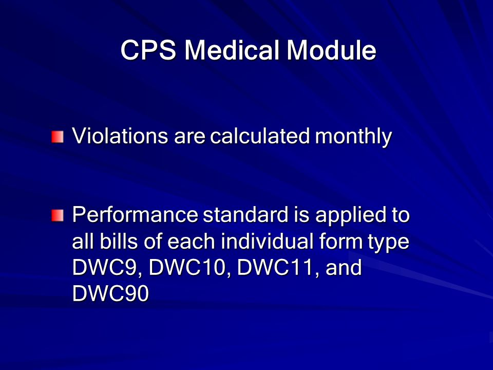 CPS Medical Module Violations are calculated monthly