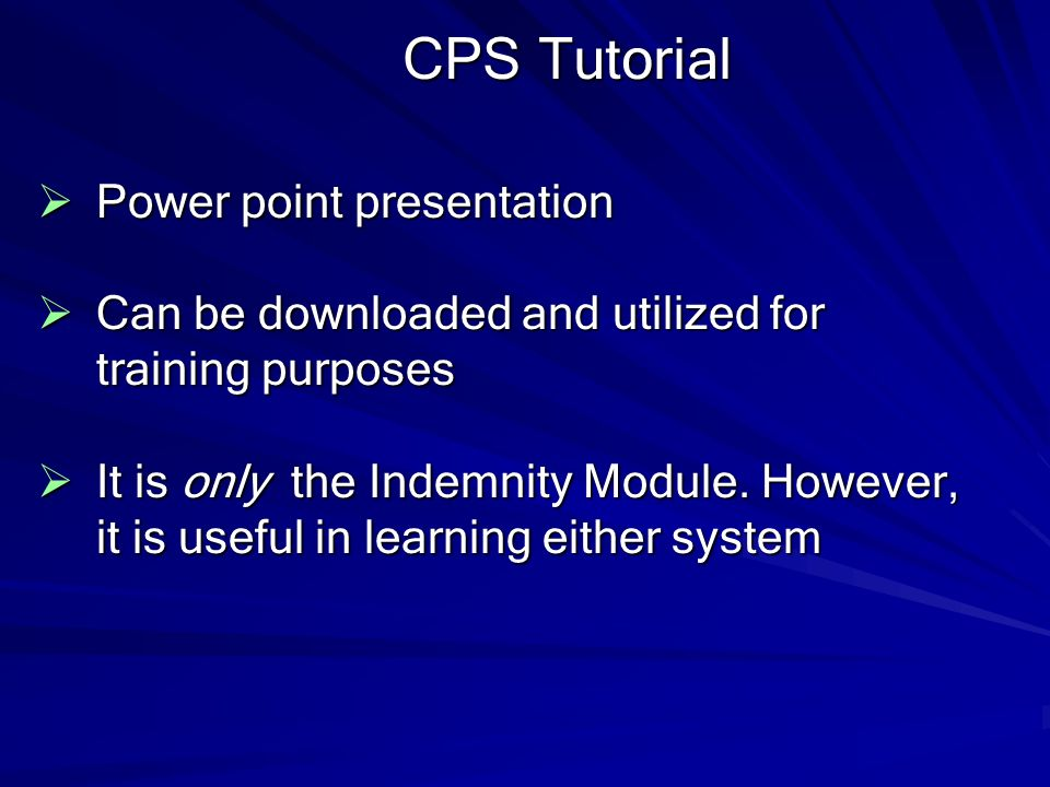 CPS Tutorial Power point presentation
