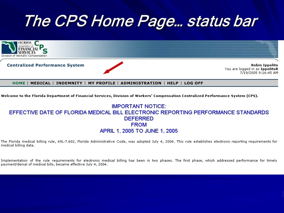 The CPS Home Page… status bar