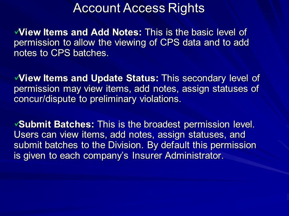 Account Access Rights
