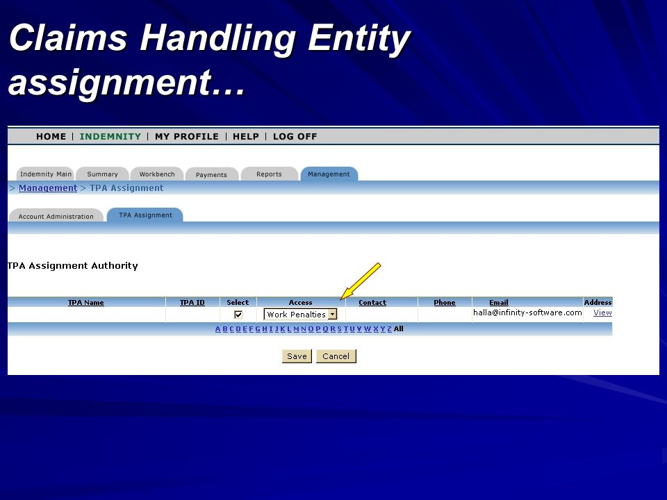 Claims Handling Entity assignment…