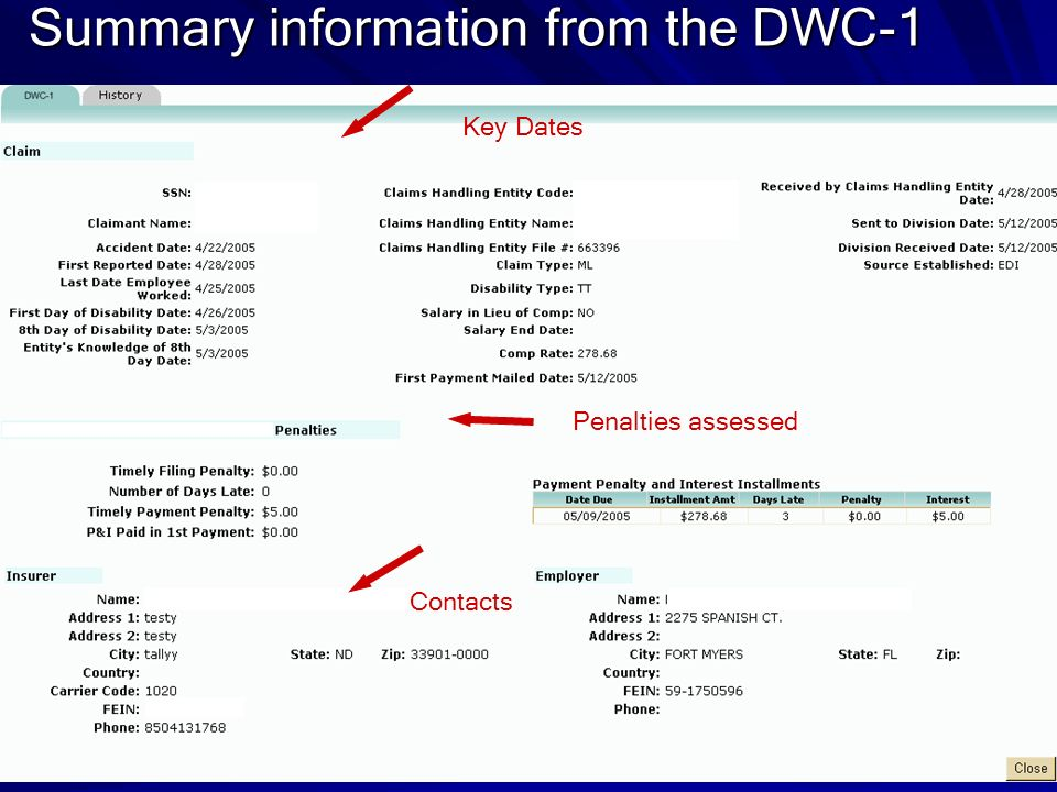 Summary information from the DWC-1