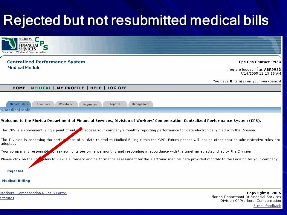 Rejected but not resubmitted medical bills