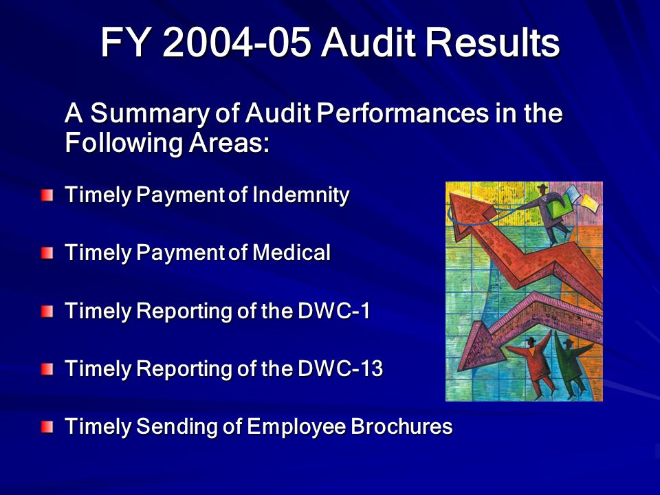FY 2004-05 Audit Results A Summary of Audit Performances in the Following Areas: Timely Payment of Indemnity.