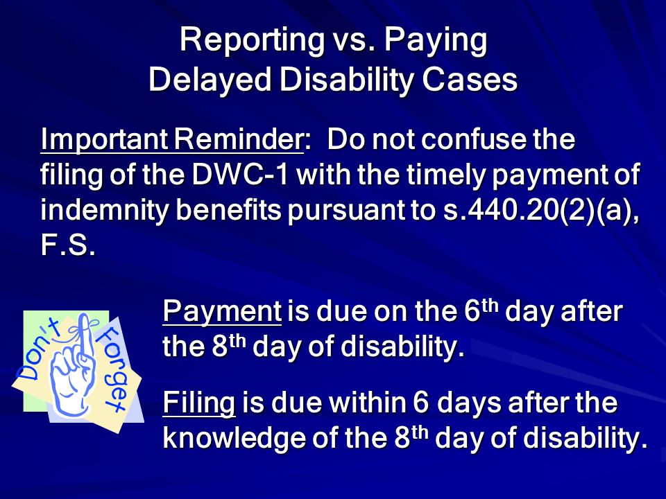 Reporting vs. Paying Delayed Disability Cases