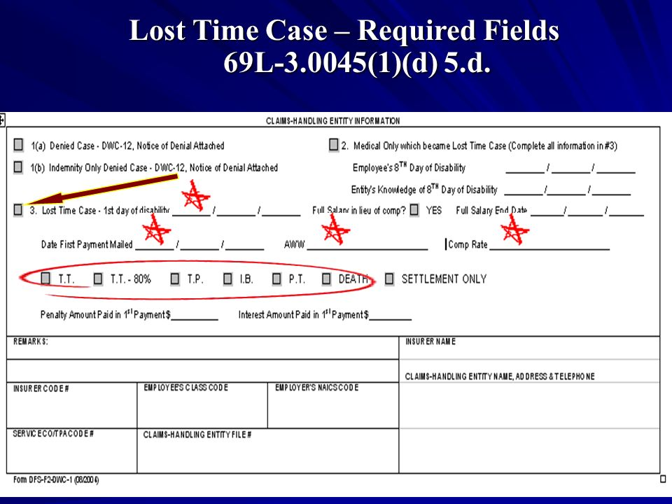 Lost Time Case – Required Fields 69L (1)(d) 5.d.