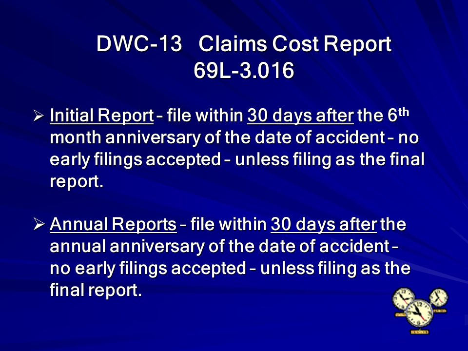 DWC-13 Claims Cost Report 69L-3.016