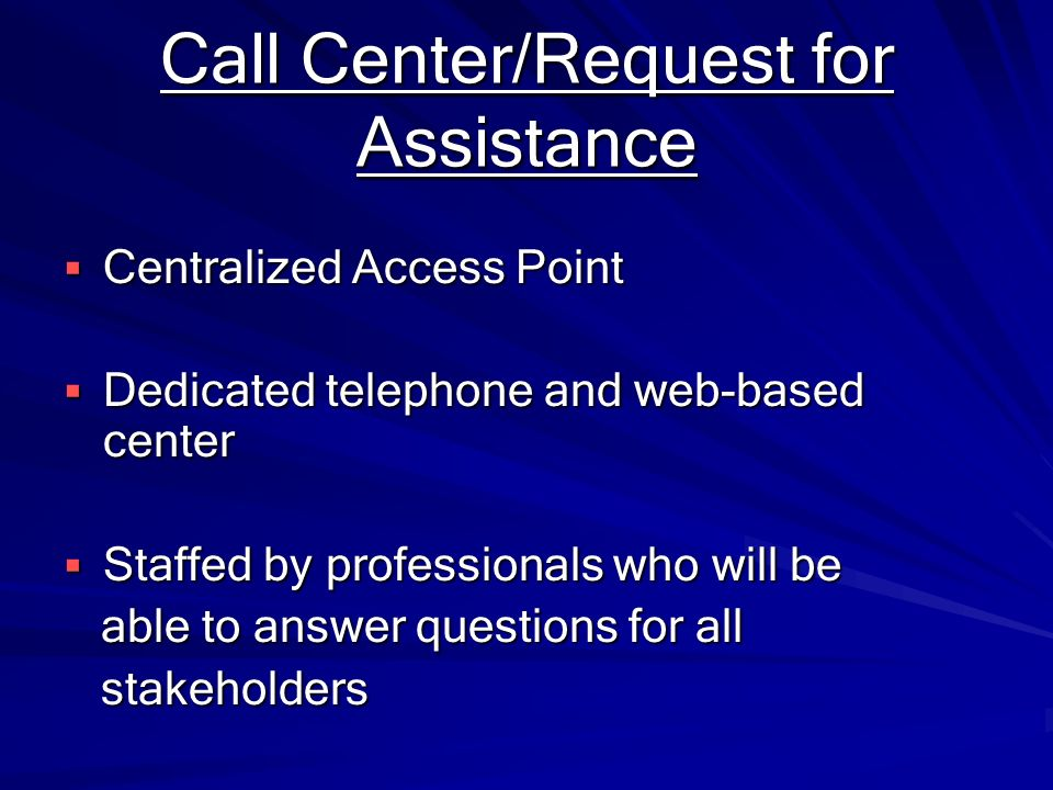Call Center/Request for Assistance