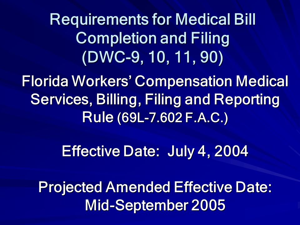 Requirements for Medical Bill
