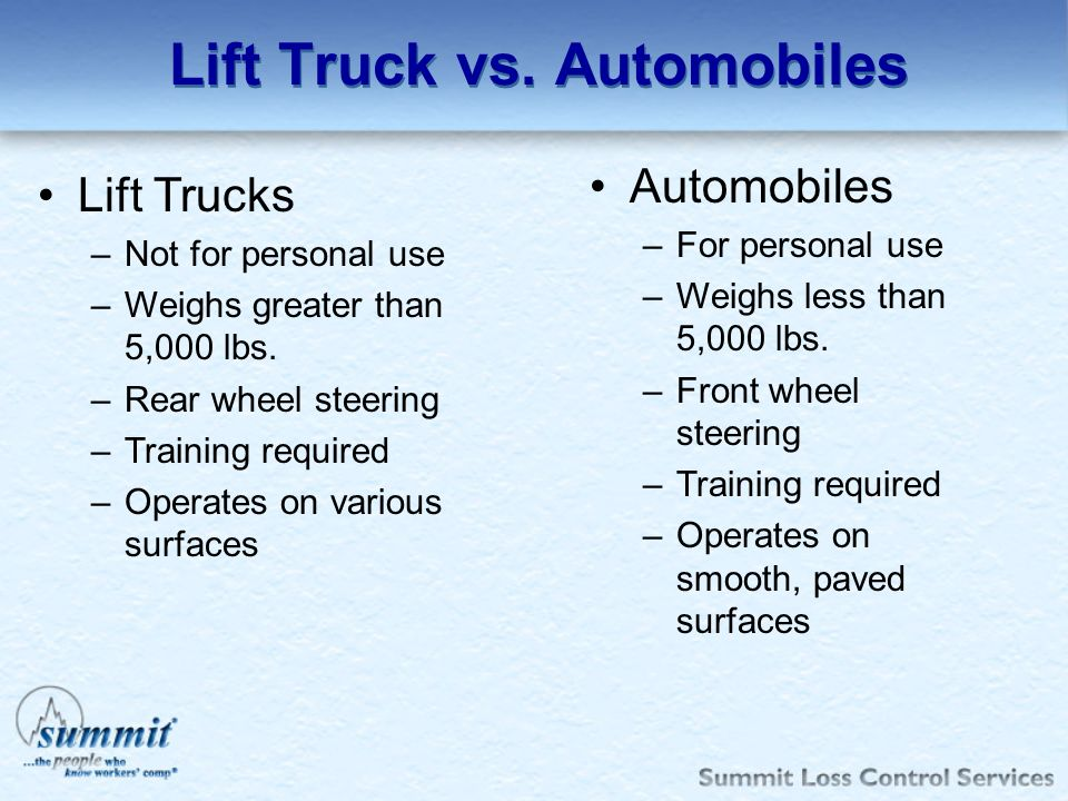 Lift Truck vs. Automobiles