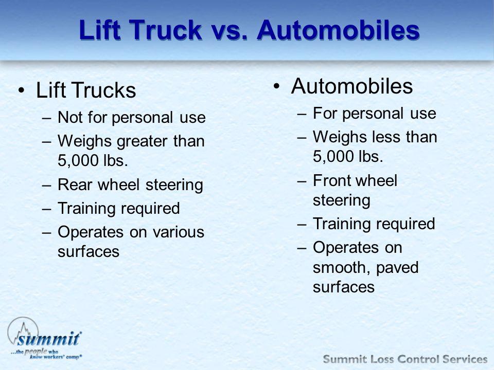 Lift Truck vs. Automobiles