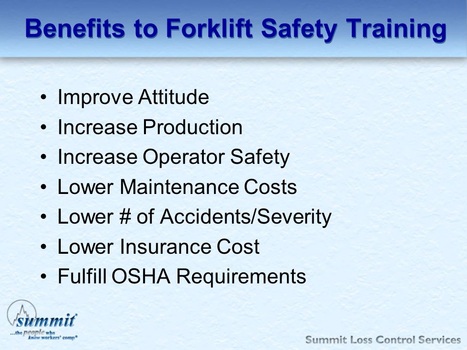 Benefits to Forklift Safety Training