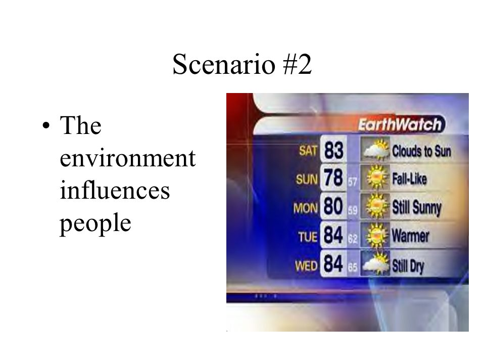 Scenario #2 The environment influences people