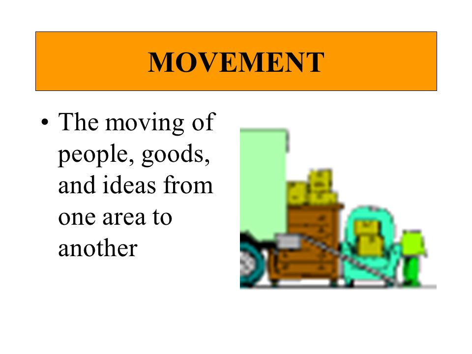 MOVEMENT The moving of people, goods, and ideas from one area to another