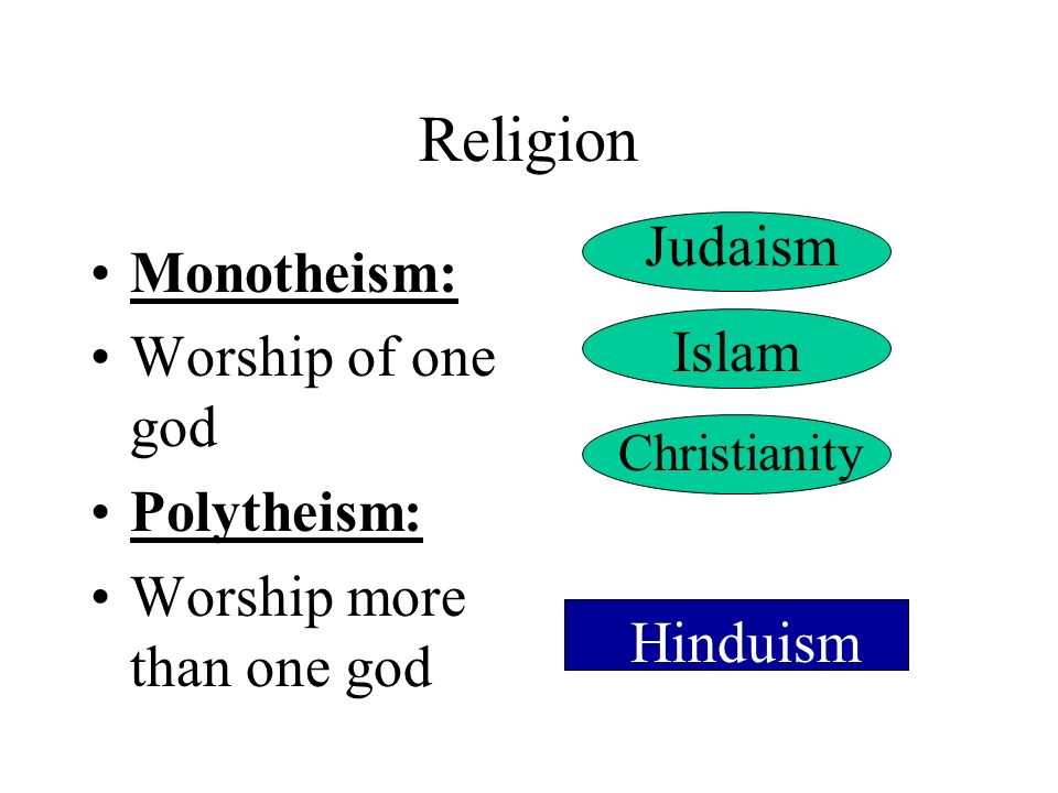 Religion Judaism Monotheism: Worship of one god Islam Polytheism: