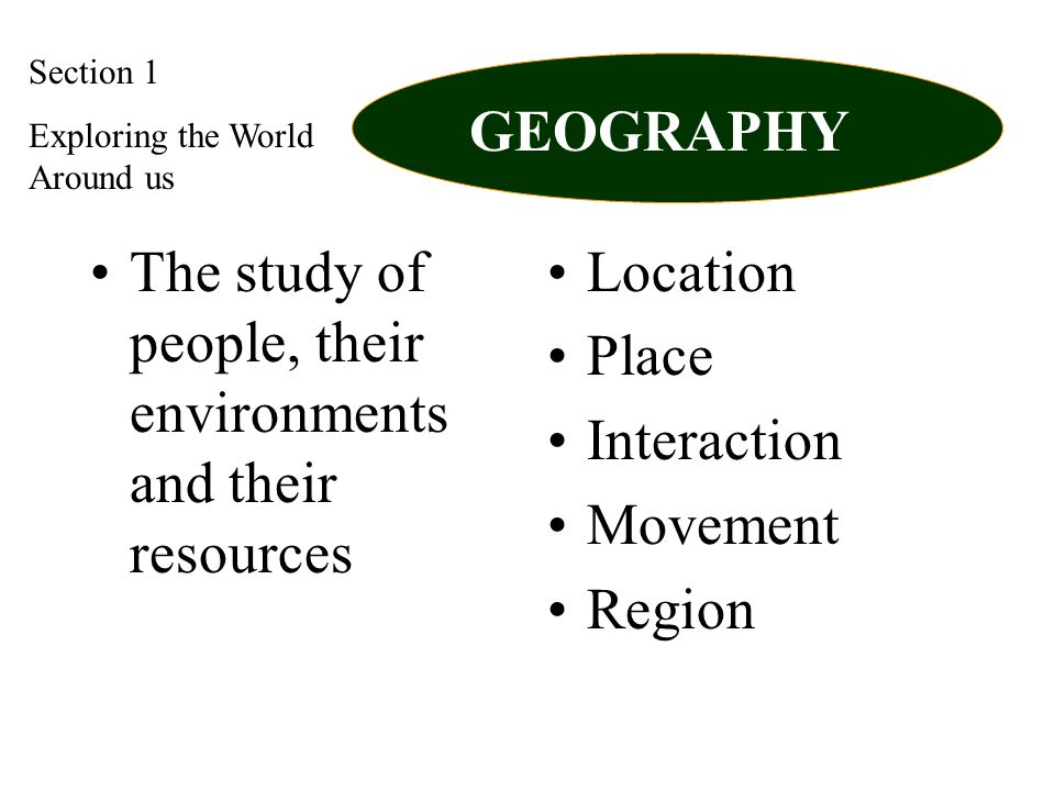 The study of people, their environments and their resources Location