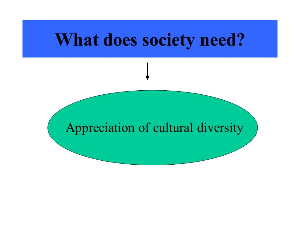 What does society need Appreciation of cultural diversity