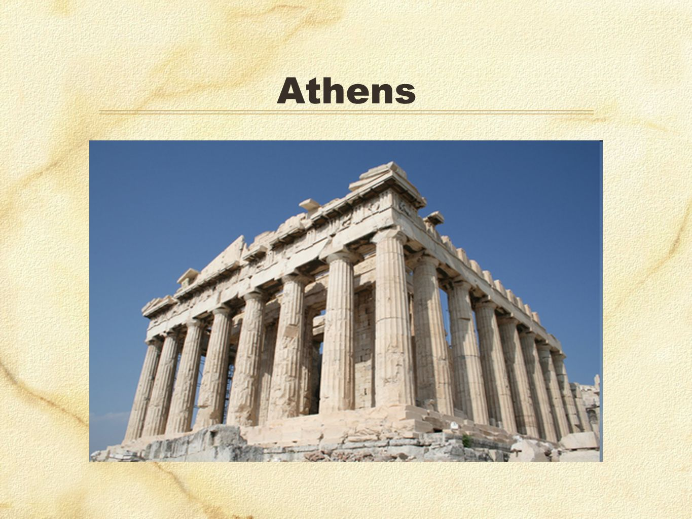 Athens Also on islands of the Aegean, but nothing as influential as…