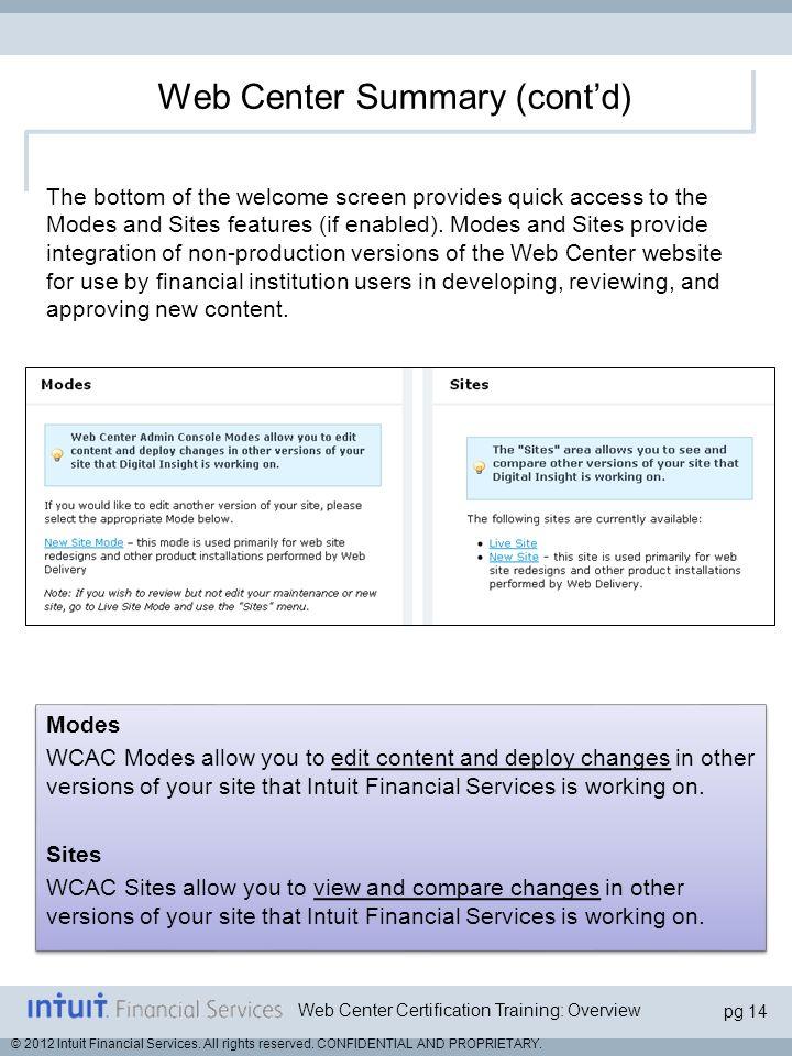 Web Center Summary (cont'd)