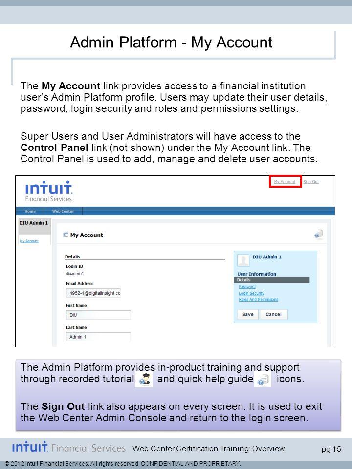Admin Platform - My Account
