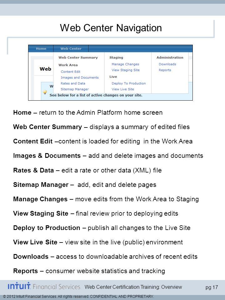 Web Center Navigation Home – return to the Admin Platform home screen