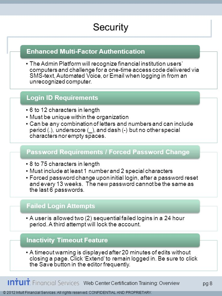 Security Enhanced Multi-Factor Authentication Login ID Requirements