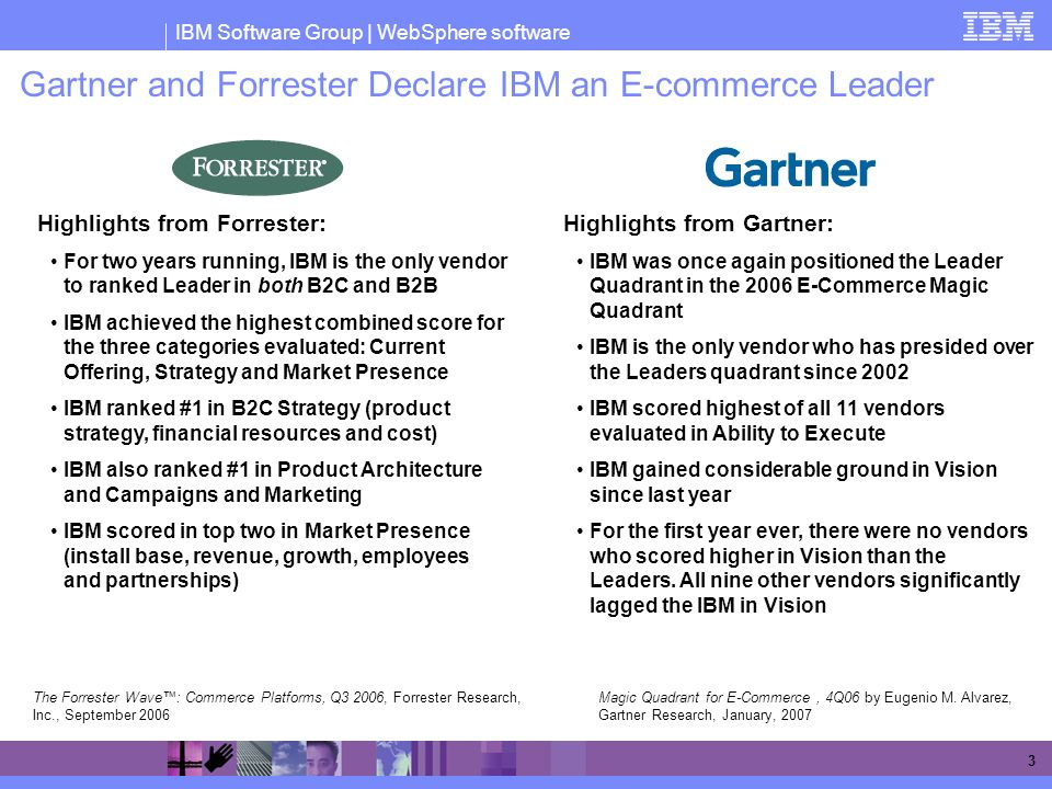 Gartner and Forrester Declare IBM an E-commerce Leader