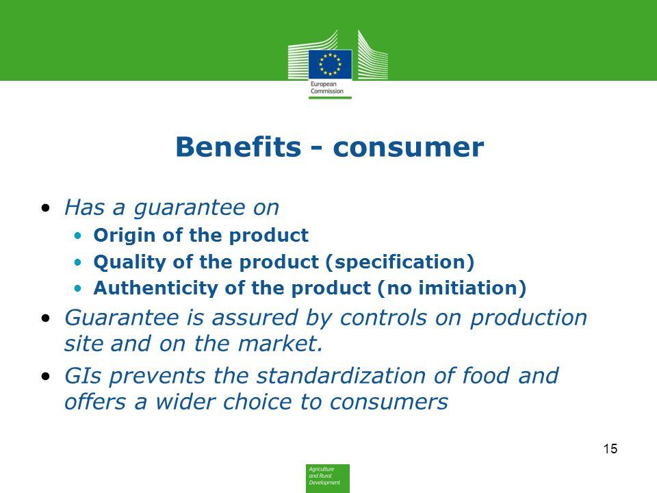 Benefits - consumer Has a guarantee on