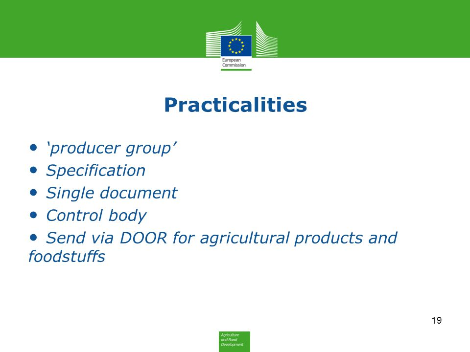 Practicalities 'producer group' Specification Single document