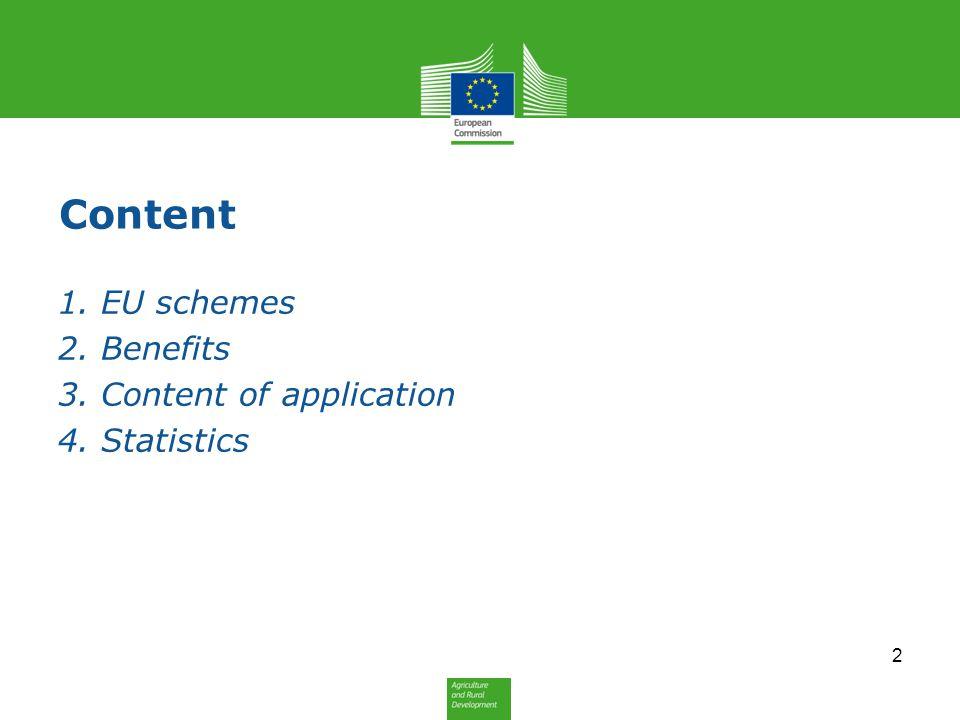 Content 1. EU schemes 2. Benefits 3. Content of application