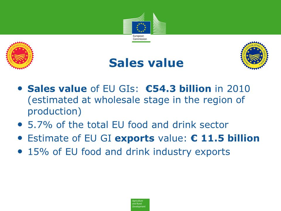 Sales value Sales value of EU GIs: €54.3 billion in 2010 (estimated at wholesale stage in the region of production)