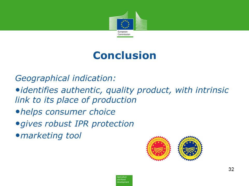 Conclusion Geographical indication: