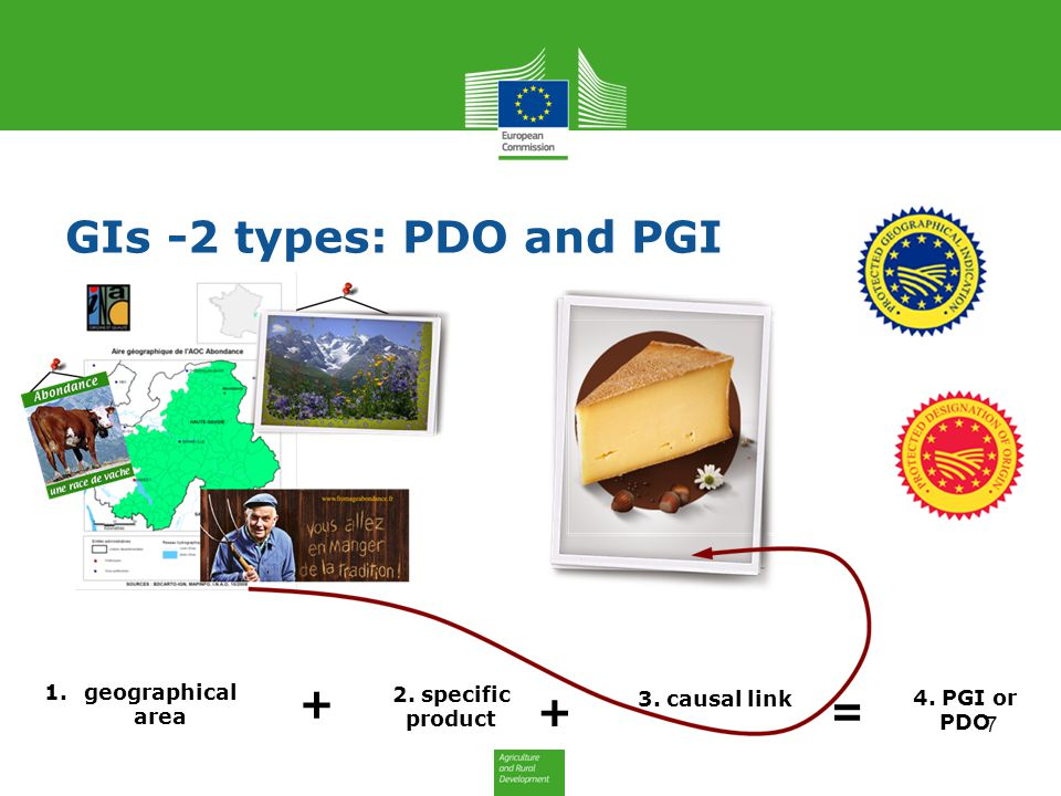 GIs -2 types: PDO and PGI + + = geographical area 2. specific product