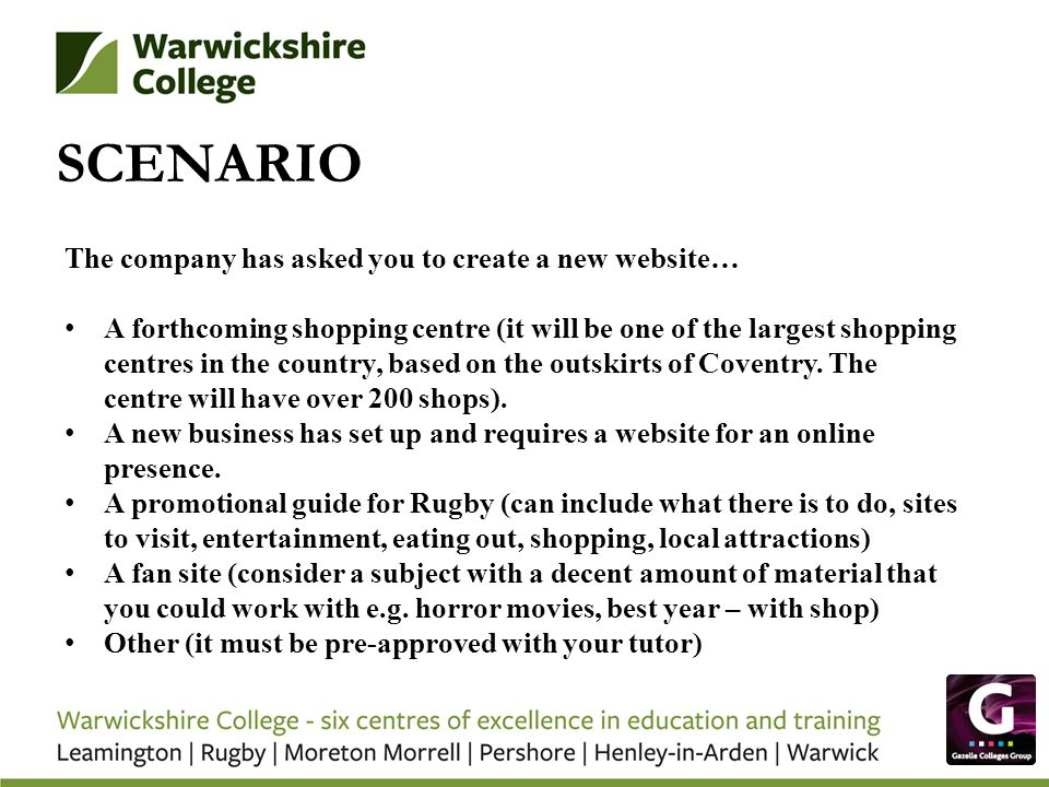 SCENARIO The company has asked you to create a new website…
