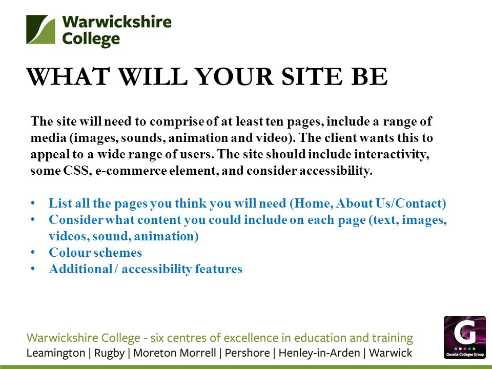 WHAT WILL YOUR SITE BE