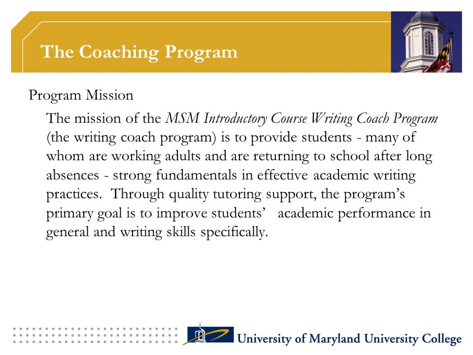 The Coaching Program Program Mission