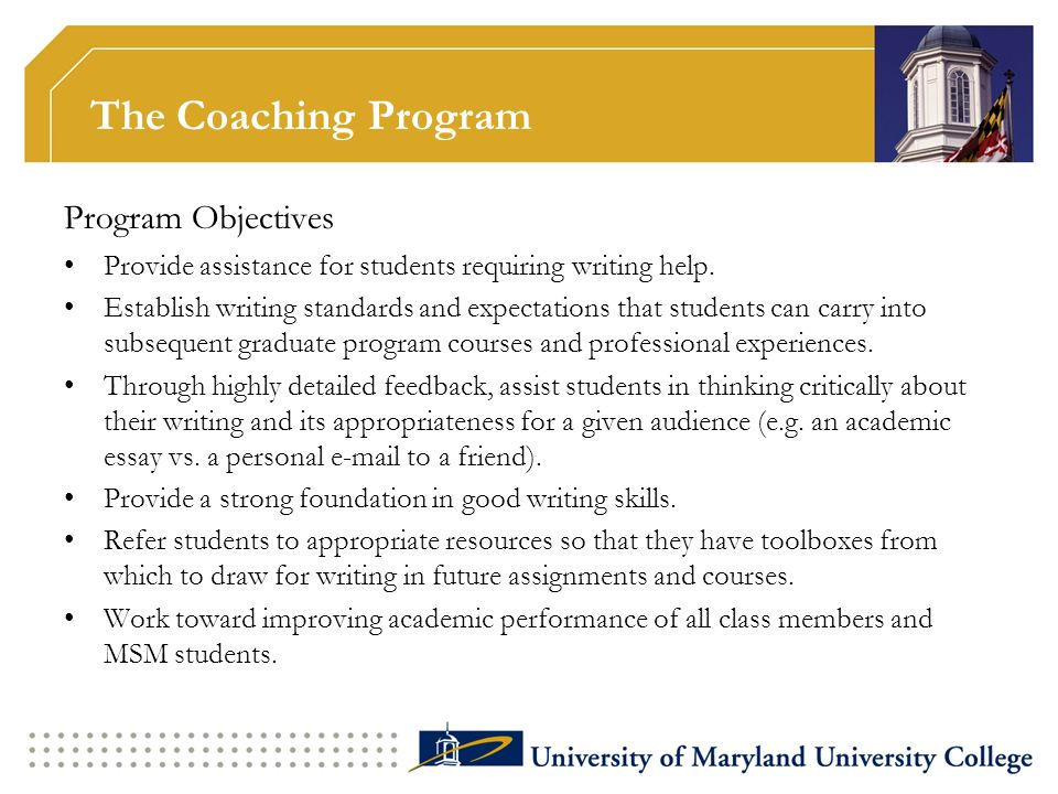 The Coaching Program Program Objectives