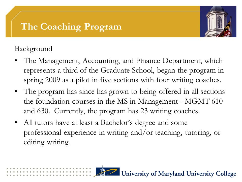 The Coaching Program Background