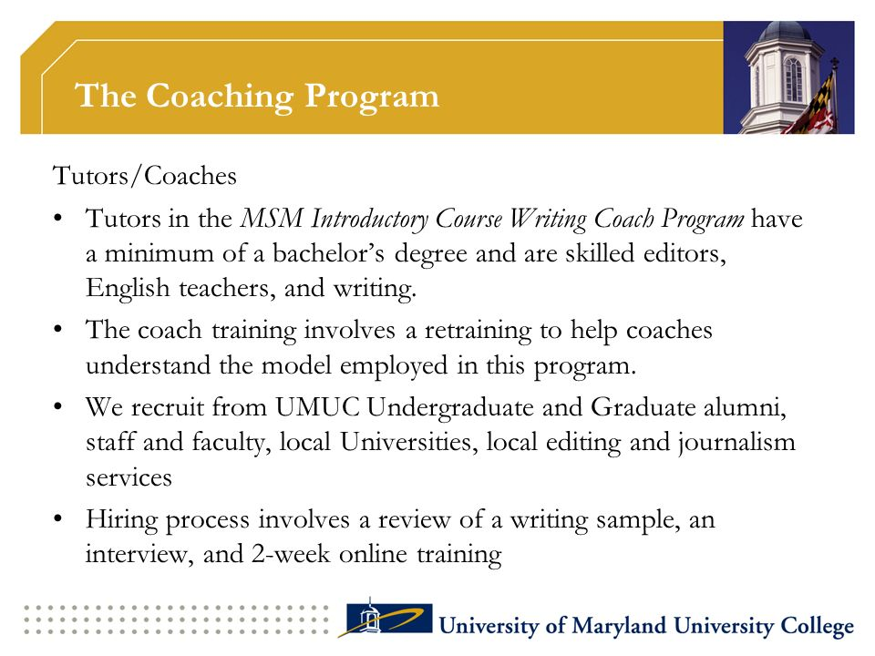 The Coaching Program Tutors/Coaches