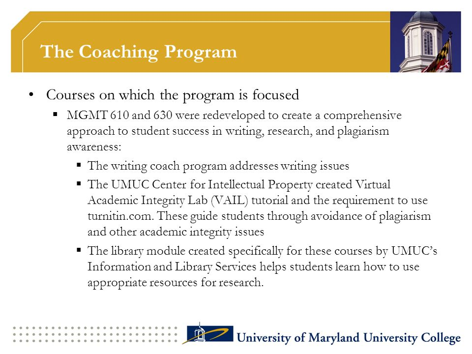 The Coaching Program Courses on which the program is focused