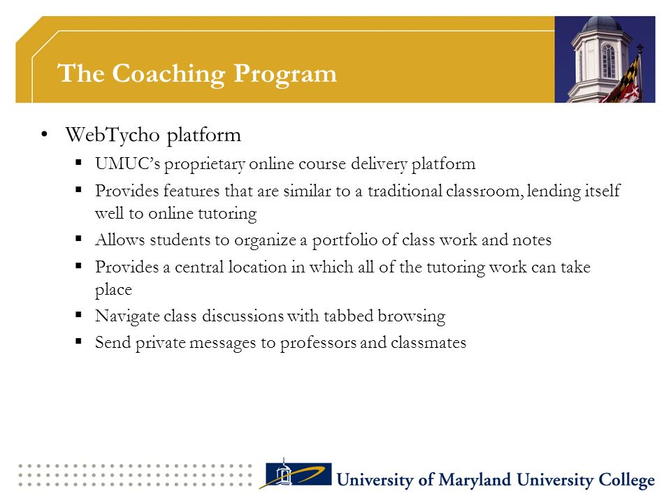The Coaching Program WebTycho platform