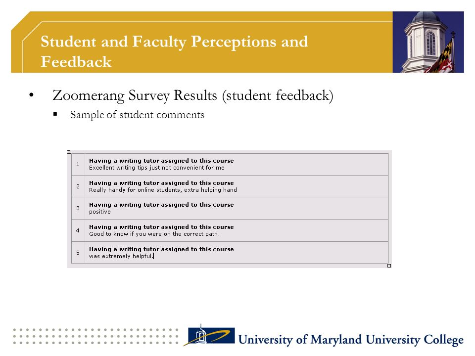 Student and Faculty Perceptions and Feedback